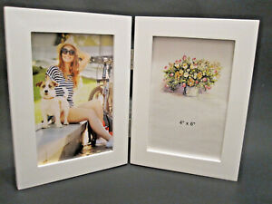 4x6 Hinged Double White Wood Picture Frame Table Top Or Wall Hang