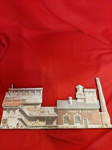 HO Scale Buildings Backdrop Pabst and Sons and Occident Flour and fence.
