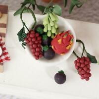 2/5Pcs Miniature Basket of Fruit Grape Banana Peach Pear Food For 1:12 Dollhouse