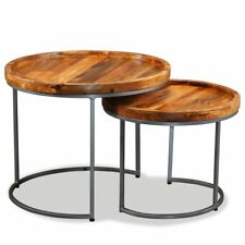 Vidaxl Solid Wood Side Table Set 2 Piece Nesting End Coffee Night Stand Accent