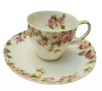 LIMOGES FRANCE CHARLES F. HAVILAND PINK CABBAGE ROSE DEMITASSE CUP & SAUCER 1900