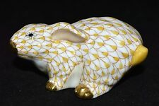 HEREND CROUCHING BUNNY /  RABBIT PORCELAIN FIGURINE, BUTTERSCOTCH, FLAWLESS $335
