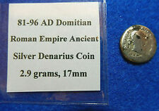 81-96 AD Domitian Roman Empire Ancient Silver Denarius Coin, 2.9 grams, 17mm