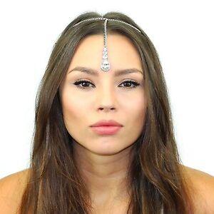 Kristin Perry Crystal Maang Tikka Chain Headpiece Made with Swarovski Crystals