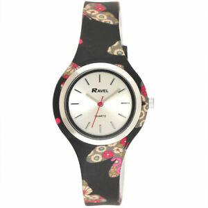 Ravel Ladies Girls Black Floral Soft Silicone Strap Watch R1806.3