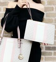 Michael Kors Jet Set Travel Xlarge Zip Clutch Wristlet Wallet Vanilla Pink Multi