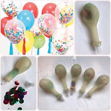 "5pcs 12"" Clear Latex balloons w Colorful Confetti PreTied Reusable Air Lock"