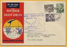 Australia 1952 2s rate QANTAS EMPIRE AIRWAYS 1st Regular Air Mail to S AFRICA