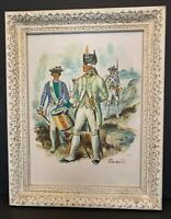 """Vintage Oil Painting Soldiers Revolutionary 15 1/4"""" x 19"""" Signed """"Benali"""" White"""