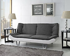 Fabric Sofa Bed 3 Seater Comfort Charcoal & White Faux Leather Home Office Room