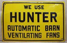 Old HUNTER BARN FANS Advertising Farm Sign embossed tin Mohawk Prod Memphis Tenn