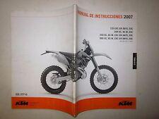 KTM my 2007 125-200-250-300 EXC-EXC SIX DAYS-XC-XC/W Manual de instrucciones