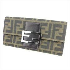 Fendi Wallet Purse Zucca Beige Black Canvas Leather Woman Authentic Used T8738