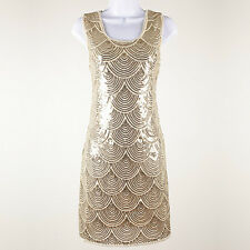 New 1920 vintage gatsby flapper charleston sequin gold evening party dress 10-12
