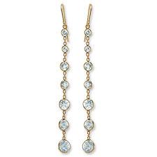 4.80 CT Genuine Aquamarine Dangling Earrings 14k Yellow Gold #E882.