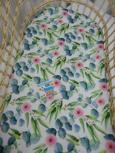 Bassinet Fitted Sheet Gum Leaves Blossoms 100% Cotton FITS STANDARD BASSINET