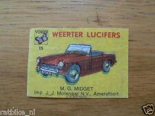 15 WEERTER LUCIFERS MG MIDGET,MATCHBOX LABELS,ETIKETTEN