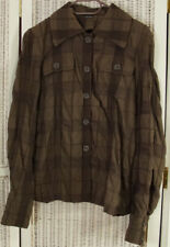 "JOSEPH Women's Crinkle Effect Jacket XL 41"" Bust Cotton Wool Brown Light Blazer"