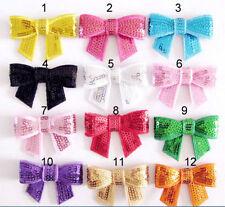 10pcs Multicolor DIY Sequin Bow Sparkle 4 Hair Clips Headbands Tie Corsage Tutus