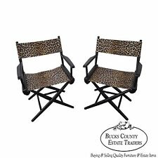 Mid Century Pair of Leopard Print Ebonized Folding Directors Chairs by Telescope