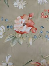 Cotton floral tan print fabric by the yard