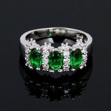 Fashion 925 Silver Emerald Gemstone Ring Engagement Party Women Jewelry Size 7