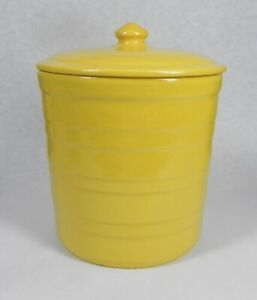 """Vintage Garden City Pottery, Large 9"""" Yellow Wide Ring Lidded Canister,"""