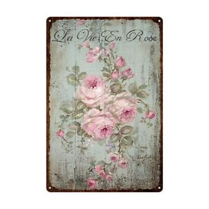 Flowers Metal Tin Sign Retro Vintage Rose Peony Lavender Wall Plaque Poster Home