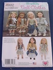 "Sewing Pattern Simplicity J 0442 18"" Doll Clothes Costumes Dress Joan Dickhaut"