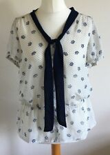 George Size 14 Ladies White Blouse Top With Polka Dots & Crown Print BNWT