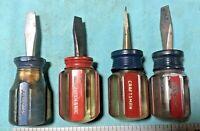Vintage USA Stubby 4pc Screwdriver Lot Craftsman 4151 PowrKraft 4901S Mechanic