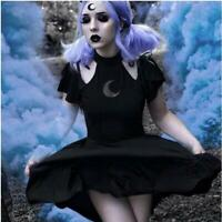 Women's Fashion Gothic Style Punk hollow out short sleeve black Vintage Dresses