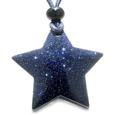 Amulet Magic Five Pointed Super Star Crystal Blue Goldstone Good Luck Pendant