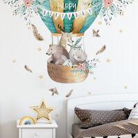 Cartoon Animal Hot Air Balloon Self Adhesive Wall Sticker Nursery Decal Decor
