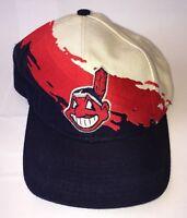 Vintage Cleveland Indians Chief Wahoo Logo Athletic Splash Snapback Hat Cap MLB