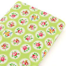 Cotton Fabric FQ Kawaii Floral & Circle White Retro Polka Dot Spot Quilting VK77