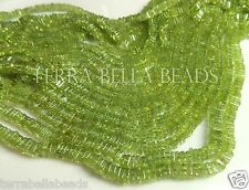 "8"" half strand green PERIDOT gem stone square heishi cube beads 4mm"
