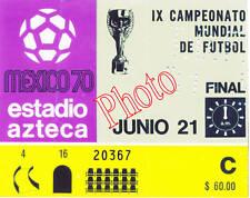 Photo Ticket Billet Finale Coupe du monde 1970 Brésil