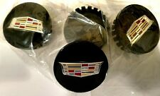 SET OF 4 BLACK 2017 NEW STYLE COLORED CREST CENTER CAPS CADILLAC FACTORY WHEELS