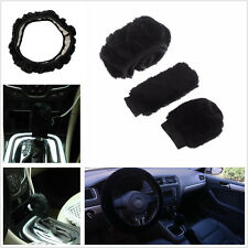 3 X Soft Plush Warm Black Imitation Wool Car Steering Wheel Cover Handbrake Set