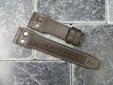 New 22mm IWC Brown CALF Leather Strap watch Band Rivet BIG PILOT Beige Regular X