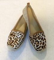 Stuart Weitzman Flats Size 8.5 Women's Leopard Print Calf Hair Espadrille Flats