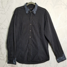 7 Diamonds Brown & Blue Striped Long Sleeve Embroidered Shirt | Men's 2XL