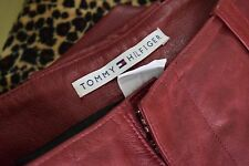 Tommy Hilfiger ox blood biker leather trousers