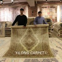 Yilong 6'x8.5' Classic Handwoven Silk Area Rug Hand Knotted Oriental Carpet 0251