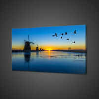 GEESE FLYING OVER SUNRISE LAKE WINDMILL CANVAS PRINT WALL ART PICTURE PHOTO