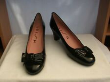 "UNISA UK 8 / 41 Black patent leather court shoes 2.5"" heel Excellent"
