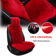 1×Red Genuine Pure Wool Long Wool Car Front Seat Cover Hairy Cushion For Winter(Fits: Golf)