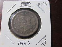1853 Large Cent - Braided Hair type - Extra Fine Cond - Hairlines - Lot# AR-29