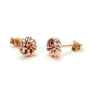 9ct Rose Gold 6mm Round Knot Stud Earrings / Studs / Earring / Knots